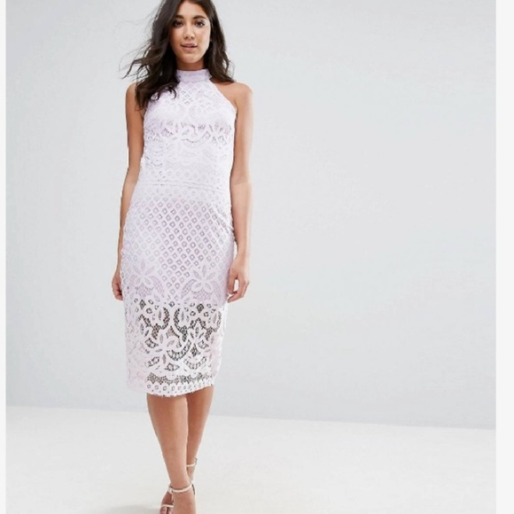 Asos Lilac Club L Lace Midi Dress Nwt